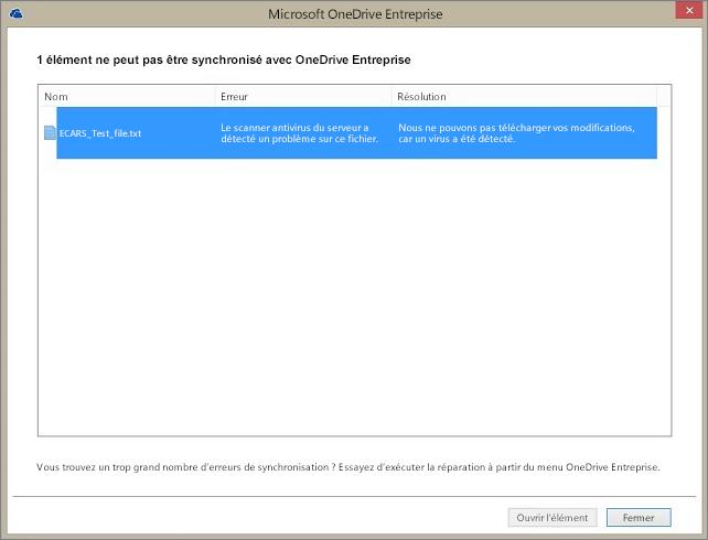 Capture d'écran d'une boîte de dialogue qui montre qu'un élément ne peut pas se synchroniser avec OneDriveEntreprise, car le scanner antivirus du serveur a détecté un problème avec le fichier.