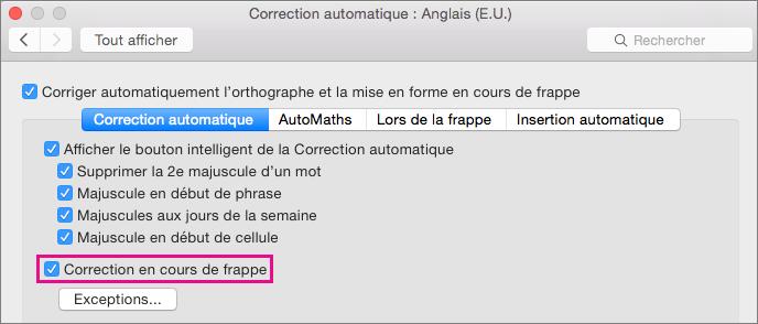 Sélectionnez Correction en cours de frappe pour que la fonctionnalité de correction automatique apporte des corrections au cours de la saisie de texte.