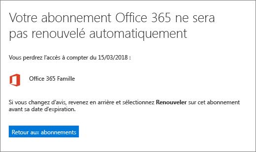 Capture d'écran de la page de confirmation lors de l'annulation d'un abonnement Office365 pour les particuliers