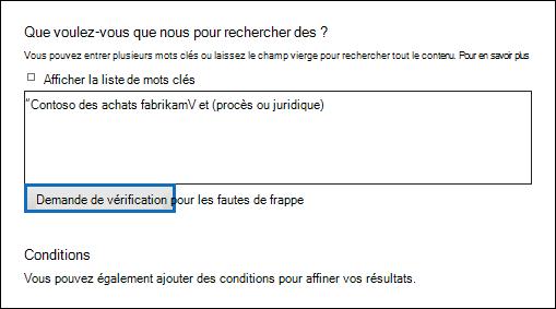 Cliquez sur «Vérifiez la requête pour les fautes de frappe» pour vérifier votre requête de recherche pour les caractères non pris en charge