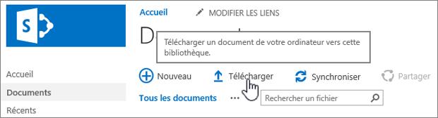 Bibliothèque de documents avec le bouton Charger mis en surbrillance