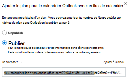 Capture d'écran de la boîte de dialogue Ajouter un plan à un calendrier Outlook