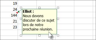 Cliquez sur la bordure de la zone de commentaire pour la déplacer ou la redimensionner