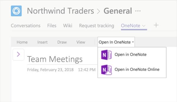 Onglet OneNote avec l'option Modifier dans OneNote sélectionné
