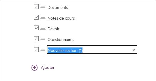 Révisez les sections du bloc-notes dans l'Assistant Bloc-notes pour la classe, notamment Documents, Notes de cours, Travail à la maison et Questionnaires.
