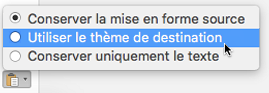 Options de collage lors du collage de texte dans Outlook pour Mac