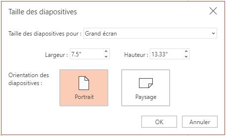 Dans la boîte de dialogue Taille des diapositives, vous pouvez choisir entre des proportions standard ou grand écran, et entre une orientation paysage ou portrait.