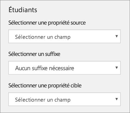 Capture d'écran de trois paramètres de synchronisation des étudiants dans School Data Sync (Propriété source, Suffixe et Propriété cible)