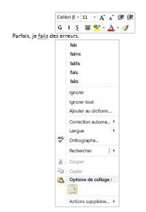 Menu contextuel du vérificateur d'orthographe et de grammaire