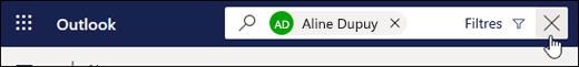 Capture d'écran du bouton Quitter la recherche