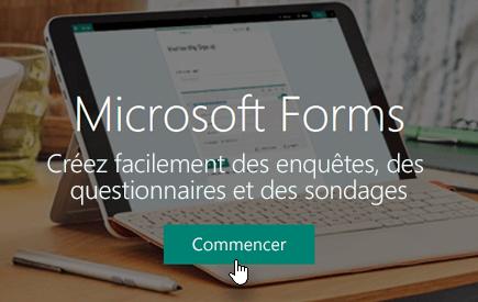 Bouton Commencer de la page d'accueil de Microsoft Forms