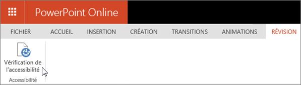 Onglet Révision avec le curseur pointant sur l'option Vérifier l'accessibilité
