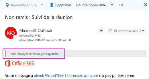 La capture d'écran montre une partie d'une notification de non-remise, avec l'option d'envoyer le message à nouveau.