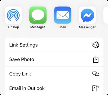 Menu partager avec les applications situées dans la partie supérieure et liste des options de partage sous celles-ci.