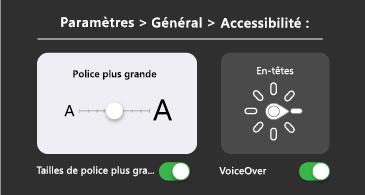Accessibilité générale: texte plus grand et paramètres de VoiceOver