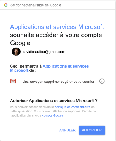 Affichage de la fenêtre des autorisations pour qu'Outlook accède à votre compte Gmail