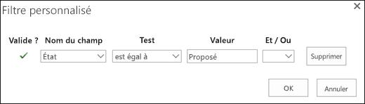 Configurer le filtre pour les demandes de ressources proposé