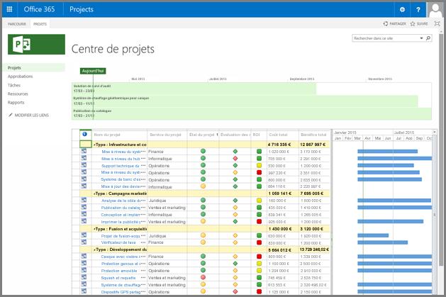 Capture d'écran de l'affichage Centre de projets personnalisé.