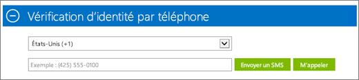 Capture d'écran de la section Vérification d'identité par téléphone de l'abonnement à Azure, dans laquelle vous indiquez votre numéro de téléphone et choisissez de recevoir le code de confirmation par SMS ou appel téléphonique.
