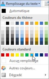 Choix d'une couleur de remplissage de texte