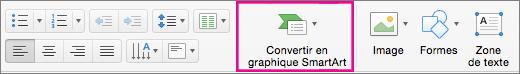 PowerPoint pour Mac - Convertir en graphique SmartArt