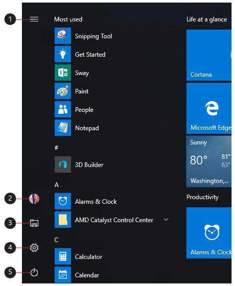 Légende des icônes de menu, Comptes, Explorateur de fichiers, Paramètres et Alimentation.