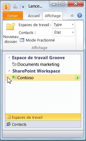 Espace de travail SharePoint dans la barre de lancement