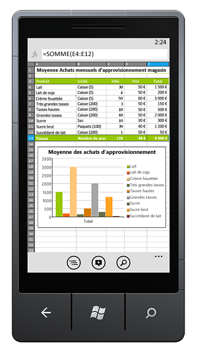 Classeur Excel ouvert sur un téléphone