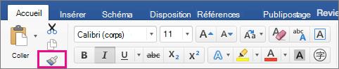 Dans l'onglet Accueil, l'option Copier la mise en forme d'un emplacement et l'appliquer à un autre est mise en évidence.