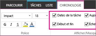 Paramètres de dates chronologie dans le ruban de la tâche