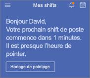 Le bouton horloge apparaît sur la page d'accueil dans StaffHub.