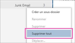 Capture d'écran de l'option Supprimer tout