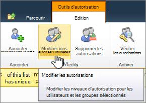 Modifier les autorisations des utilisateurs