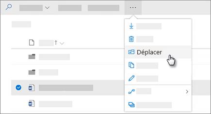 Capture d'écran de la commande déplacer vers dans OneDrive entreprise