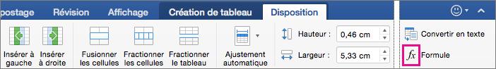 Lorsque la fenêtre est trop large, Formule s'affiche dans l'onglet Disposition plutôt que dans le menu Données.