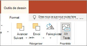 Bouton texte de remplacement dans le ruban d'une forme ou d'une vidéo dans PowerPoint online.