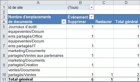 Un résumé des données d'audit dans un tableau croisé dynamique