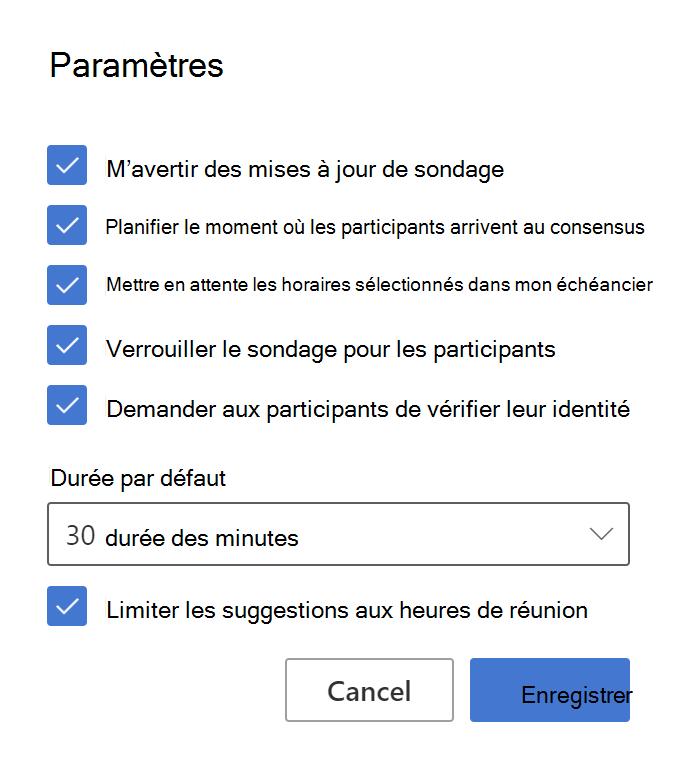 Exemple de paramètres de l'organisateur pour FindTime