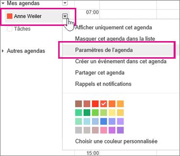 Paramètres du Calendrier Google