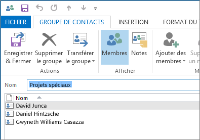 Votre nouveau groupe de contacts doit contenir à présent des personnes