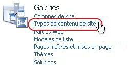 Lien Type de contenu de site sous Galeries