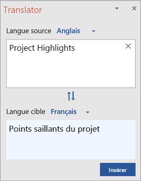 Volet Translator avec des mots traduits d'anglais en français