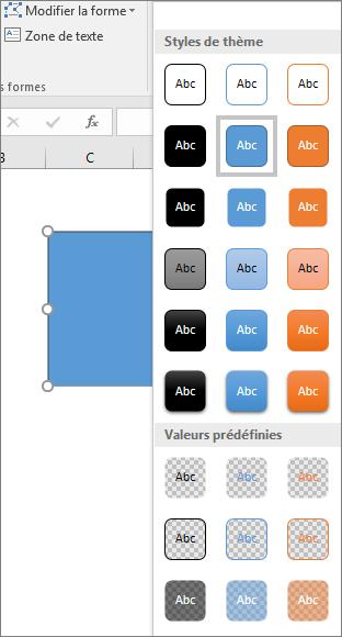 Galerie des styles de formes montrant les nouveaux styles prédéfinis dans Excel2016 pour Windows