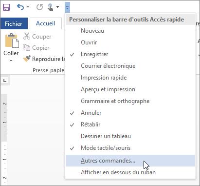 Sélection de commandes supplémentaires pour la barre d'outils Accès rapide