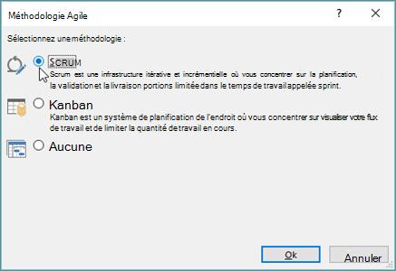 Capture d'écran de la boîte de dialogue méthodologie Agile
