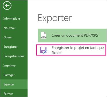 Enregistrer le projet en tant que fichier
