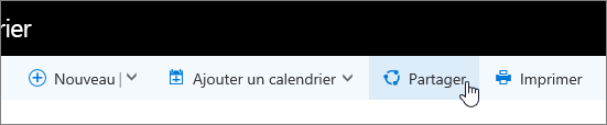 Capture d'écran du bouton Partager le calendrier sur la barre de navigation