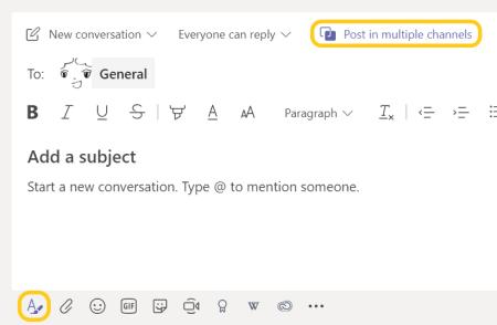 Image montrant comment publier un message de canal dans plusieurs canaux.