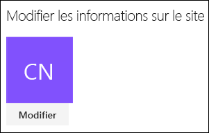 Capture d'écran montrant la boîte de dialogue permettant de modifier le logo du site dans SharePoint.