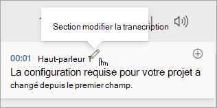 Sélectionner modifier la section de transcription